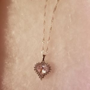 White topaz heart pendant with chain